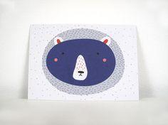 Postkarte Bär blau Postkarte im Din A6 Format gedruckt auf hochwertigem Recyclingpapier.  1,50 € inkl. MwSt., zzgl. Versandkosten