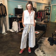 Frank and Eileen Fiona Top | Giada Forte Handcrafted Stripe Pant | Robert Clergerie Japan Oxford