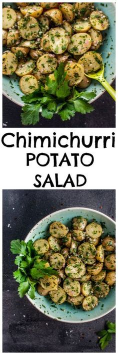 My chimichurri potato salad is packed with flavor from the fresh herbs and garlic! It's the perfect easy to prepare side dish and is ideal for those who do not like creamy potato salad. (Whole 30 Recipes Dressing) Healthy Recipes, Veggie Recipes, Salad Recipes, Vegetarian Recipes, Cooking Recipes, Veggie Food, Brownie Desserts, Chimichurri, Potato Dishes