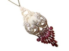 Lace Statement Necklace in Oxblood Tan and by WhiteBearAccessories