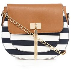 Call It Spring Navy 'Return' striped cross body bag ($35) ❤ liked on Polyvore featuring bags, handbags, shoulder bags, navy shoulder bag, beige handbags, crossbody purse, navy striped purse and fold over crossbody purse