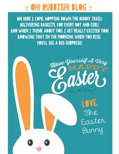 A Letter From The Easter Bunny Printable Poem Free