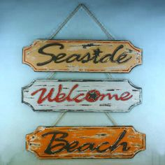 """Set of 3 - Wooden Weathered Seaside Welcome Beach Plaque 23"""" 