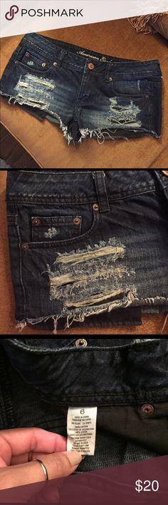 American eagle shorts Distressed dark denim American eagle shorts size 6. Shorts run pretty short American Eagle Outfitters Shorts Jean Shorts