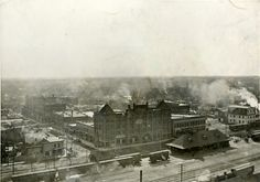 HISTORIC PIC - Bird's eye view of Grand Island circa 1905.  Prominent buildings seen in the foreground are the 1892 Union Pacific passenger depot, and the Koehler Hotel built in 1893.  This photo was taken from the vantage point of the stand pipe at the Grand Island Water Works.   The Koehler Hotel, the largest building in this photo, adorned the southwest corner of North Locust and South Front Streets until it was razed in 1970.  At the time the hotel was opened, it was looked on as a model…