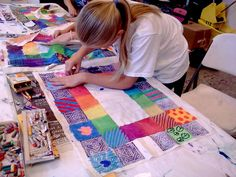Explore the art style of noted artist and children's author Faith Ringgold through her world famous story quilt artworks.  In this two-part workshop, student artists will create their own story quilts on muslin cloth showing a story about a personal memory. Under the instruction of Shelley Geiger, young artists will use watercolor paint, a variety of drawing media, block printing techniques, embellishments, plus needle and thread on these one of a kind story quilts. Finished quilt pieces…