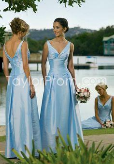 Discount A-Line V-Neck Floor-Length Bridesmaid Dresses