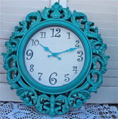 Turquoise French Ornate Wall Clock with by RepurposedTreasure4U. , via Etsy.