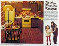 This reminds me of the kitchen in my first home (as an adult). For some reason, avocado green and harvest gold with dark wood cabinets were the colors of choice.and carpet in the kitchen.worst idea ever! 1970s Kitchen, Vintage Kitchen, Gold Kitchen, Vintage Advertisements, Vintage Ads, Vintage Stuff, Vintage Sheets, Vintage Magazines, Vintage Decor