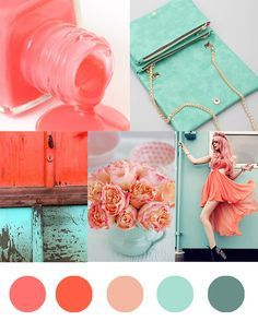 Color Palette: Seafoam + Coral So I just found out that I am heading to Miami for a weekend in June, and decided to put together a beachy, bright, Miami-esque color palette for project inspiration. Fun sea-foam green and peachy … Coral Color Schemes, Coral Colour Palette, Color Schemes Colour Palettes, Seafoam Color, Pantone Verde, Summer Wedding Colors, Summer Colors, Green Wedding, Verde Agua Color