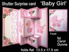 Shutter Surprise Card Baby Girl on Craftsuprint designed by Carol Dunne - It looks like an ordinary card but when you open it WOW! a shutter card pops out. This one is decorated with a gingham duck, gingham butterflies and a patchwork pram in shades of pink for a new baby girl. Folds flat for posting and fits a standard C5 envelope. - Now available for download!