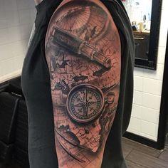 Time Tattoos, Body Art Tattoos, Tattoos For Guys, Navy Tattoos, Black White Tattoos, Pirate Map Tattoo, Karten Tattoos, Puzzle Tattoos, Anker Tattoo