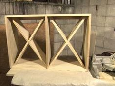 Finished wine rack before it was painted with diagonal shelves.