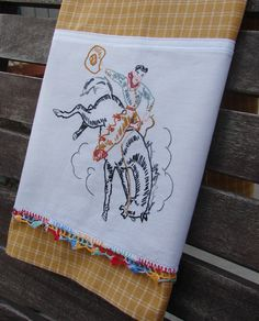 Rancho Cowboy Bucking Bronco Rodeo Horse Western Saddle Recycled Vintage Pillow Case to Up Cycled Dish Towel Ranch Farm Kitchen Decor