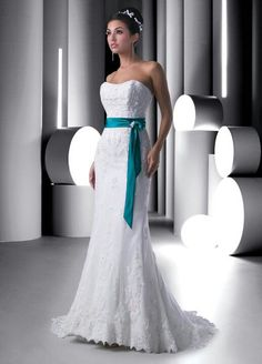Simple wedding dress with teal