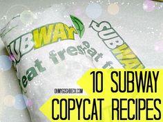 10 Subway Copycat Recipes - tuna, flat bread, double chocolate chip cookies, etc. Cat Recipes, Sandwich Recipes, Cooking Recipes, Recipies, Sandwich Ideas, Fondue Recipes, Cooking Pork, Easy Cooking, Subway Tuna