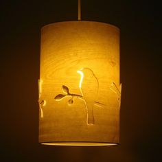 Pale Wood Veneer Bird Cutout Shade