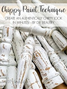 Love the chippy look? It's easier to create than you might think! I'm sharing a quick and easy technique and a pile of chippy spindles at DIY beautify! Refurbished Furniture, Paint Furniture, Repurposed Furniture, Furniture Projects, Furniture Makeover, Wood Projects, Whitewashing Furniture, Furniture Refinishing, Furniture Design