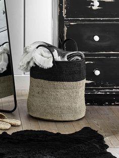 Large Sisal & Leather Basket | Leather Sisal Basket