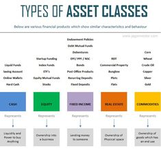 Types of asset classes primary lessons, financial literacy, real estate investing, stock market Learn Accounting, Accounting Basics, Accounting Student, Accounting And Finance, Wealth Management, Business Management, Asset Management, Money Management, Financial Tips