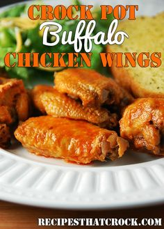 Crock Pot Buffalo Chicken Wings ~ crockpot recipes #Crockpot #SlowCokker #RecipesThatCrock