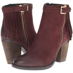 Steve Madden Woodmeer (Burgundy Nubuck) Women's Zip Boots ($103) ❤ liked on Polyvore featuring shoes, boots, ankle booties, ankle boots, burgundy, high heel boots, fringe boots, burgundy boots, steve madden bootie and burgundy booties