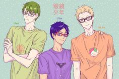 Kuroko no Basket, Free!, Haikyuu!!, Midorima Shintarou, Ryugazaki Rei, Tsukishima Kei