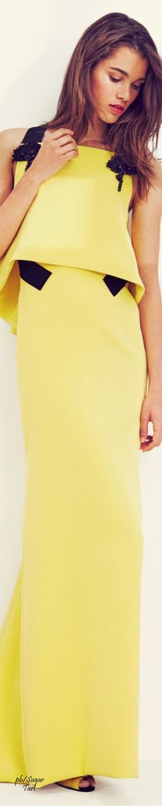 Carolina Herrera Resort 2016 yellow dress  women fashion outfit clothing style apparel @roressclothes closet ideas