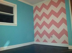Chevron, girls bedroom.