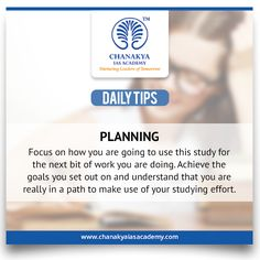 #DailyTips  #Planning #CurrentAffairs Focus on how you are going to use this study for the next bit of work you are doing. Achieve the goals you set out on and understand that you are really in a path to make use of your studying effort #UPSC #IasExam brought to you by #ChanakyaIasAcademy