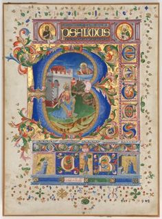 c. 1450 Florence, Italy Leaf from a Psalter with Historiated Initial (B): King David - ink, tempera, and gold on parchment (17 15/16 x 13 1/2 in.) - Cleveland Museum of Art 1964.149