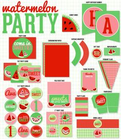 Red Watermelon Party PRINTABLE Full Collection by Love The Day by lovetheday on Etsy https://www.etsy.com/listing/152183624/red-watermelon-party-printable-full