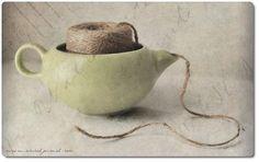 teapot yarn holder - cute idea!