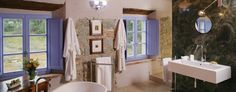 Casale San Guiseppe Bathroom- love the lilac window shutters and rustic yet modern remodel
