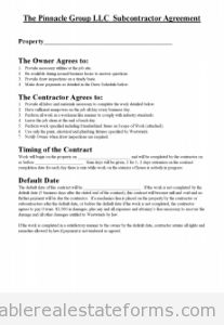 Printable Agreement Between Contractor And Subcontractor Template