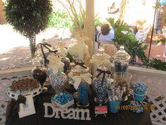 Candy Buffet Baby Shower Mesa de dulces azul, cafe  y beige