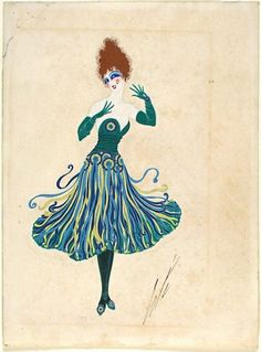 Costume Sketch for Ganna Walska as Zazà, Zazà Erté (Romain de Tirtoff) (Russia, active France and United States, 1892-1990) France, 1920