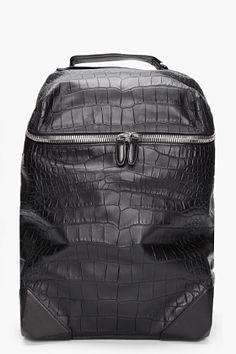 Alexander Wang Black Croc Embossed Leather Wallie Backpack for Men | SSENSE
