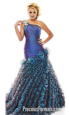 Floor Length One Shoulder Ruffle Gown at PromGirl.com