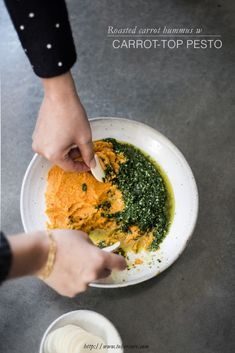 Roasted Carrot Hummus and Carrot-Top Pesto recipe made in the Vitamix