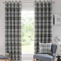 Dove Grey Highland Check Lined Eyelet Curtains