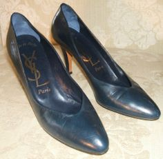 Ysl Heels, Leather High Heels, Mad Men, Baby Items, Buy Now, Yves Saint Laurent, Fashion Outfits, Navy, Awesome