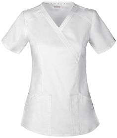This Contemporary fit mock wrap top contours your curves for an exceptionally flattering fit. Center back length: Code Happy Contemporary Fit Size Chart. Cherokee, Stylish Scrubs, Womens Scrubs, Suit Accessories, Medical Scrubs, Dresses For Work, Tunic Tops, Mens Tops, Outfits