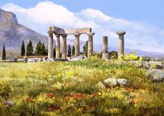 Today we want to show you stunning watercolor paintings of Greece created by artist Pantelis Zografos. For 30 years Pantelis Zografos doesn't live in Greece, but love to Watercolor Landscape, Landscape Paintings, Watercolor Paintings, Watercolors, Landscapes, Nana Mouskouri, Art Aquarelle, Greek Art, Greek Islands