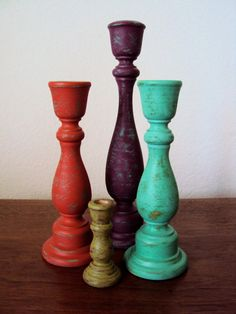 Distressed Wood Candlesticks Set - Colorful Boho Decor - Four Piece Bohemian Gypsy Candle Holders - Neon Painted Wooden Candle Sticks on Etsy, $48.00
