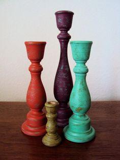 Distressed Wood Candlesticks Set  Four Piece by ElizabethanFolkArt, $48.00