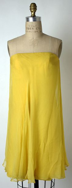 Canary yellow chiffon cocktail dress, by George Peter Stavropoulos, American, 1966-67.
