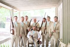 Guns and Grooms dressed in grey and mint suits! l Captured by Colson l See more http://www.rusticfolkweddings.com/2014/09/08/rustic-mint-southern-wedding/