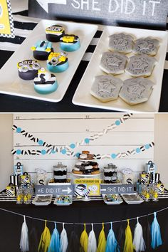 Lego Cops and Robbers Birthday Party - i like the tassels underneath the dessert table! :)