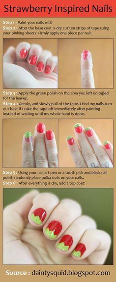 Strawberry Inspired Nails - Beauty Tips, Fashion Trends and Styles Get Nails, How To Do Nails, Hair And Nails, Nail Candy, Creative Nails, Nail Tutorials, Pretty Nails, Nice Nails, Fabulous Nails